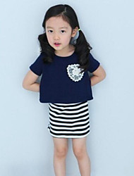 Girl's Blue Clothing Set,Striped Cotton Summer