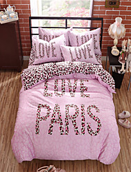 Panic Buying Duvet Cover Leopard Bedding Sweet Bedspread Cotton Fabric Bed Linen Home Comforter 3Pcs Full or 4Pcs Queen