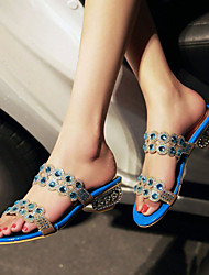 Women's Shoes Heel Heels / Peep Toe / Slippers Sandals / Heels / Clogs & Mules Outdoor / Dress / Casual Blue / Gold