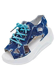 Women's Summer Creepers Denim Outdoor / Casual Platform Lace-up Blue