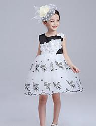 Menina de Vestido Primavera Algodão Preto / Branco