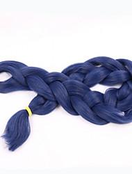 Blau Box Zöpfe Jumbo Haarverlängerungen 24inch Kanekalon 3 Strand 80-100g/pcs Gramm Haar Borten