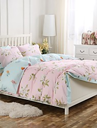 Simple Opulence 100% Cotton Wood Button Pink Floral Printed King Queen Duvet Cover Set