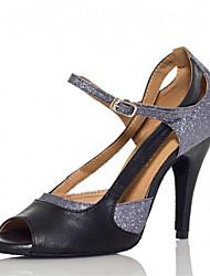 Chaussures de danse(Argent) -Personnalisables-Talon Personnalisé-Similicuir-Latine Samba Salsa