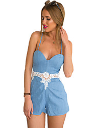 Women's Solid Blue Jumpsuits , Sexy / Holiday Strap Sleeveless