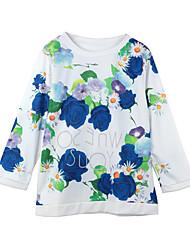 Women T-Shirt Floral Printed O-Neck Three Quarter Sleeve Blouse Tee Tops Sport Pullover Sweatshirt