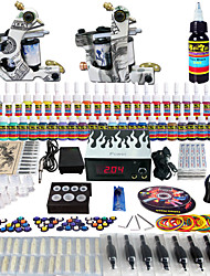Solong Tattoo Complete Tattoo Kit 2 Pro Machines 54 Inks Power Supply Foot Pedal Needles Grips Tips TK252