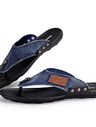 Men's Shoes Casual Denim Flip-Flops Black / Blue
