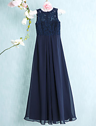 Floor-length Chiffon / Lace Junior Bridesmaid Dress-Dark Navy Sheath/Column Scoop