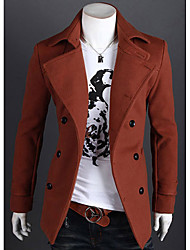 Men's Solid Casual Trench coat,Tweed Long Sleeve-Black / Brown / Gray