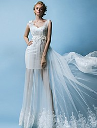 Sheath/Column Wedding Dress - Ivory Floor-length Sweetheart Satin / Tulle