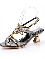 Women's Shoes Leather Chunky Heel Heels Sandals Party & Evening / Dress / Casual Black / Blue / Red / Gold