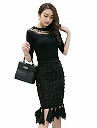 Women's Solid Black Skirts , Plus Size / Street chic Knee-length