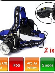 Led Headlamp 3 Mode 1200 Lumens Waterproof / Impact Resistant /Cree XM-L T6 AA Bike Light Camping/Hiking