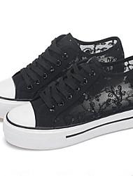 Women's Shoes Fabric Flat Heel Round Toe Fashion Sneakers Casual Black / White