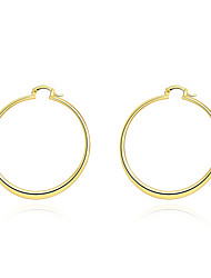 Women's 18K Gold Plated Hoop Earrings Trendy Round Circle Earrings(Color:Gold)