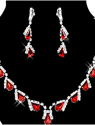 Red Rhinestone Crystal Jewelry Set(Necklace+Earrings)