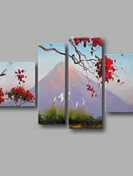 "Ready to Hang Stretched Hand-Painted Oil Painting 64""x40"" Four Panels Canvas Wall Art Modern Red Blossom Mountain"