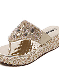 Women's Shoes Synthetic Wedge Heel Slingback Sandals Dress / Casual Silver / Gold
