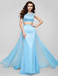 TS Couture Prom Formal Evening Dress - Two Pieces Beautiful Back A-line Jewel Sweep / Brush Train Chiffon with Beading Crystal Detailing