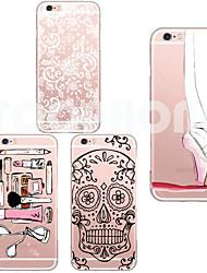 Para Capinha iPhone 6 / Capinha iPhone 6 Plus Transparente Capinha Capa Traseira Capinha Desenho Macia TPUiPhone 6s Plus/6 Plus / iPhone