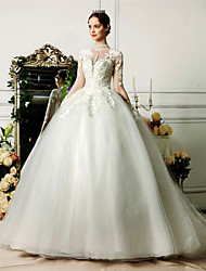 Ball Gown Wedding Dress See-Through Court Train High Neck Tulle with Beading Lace