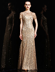 Formal Evening Dress - Celebrity Style Trumpet / Mermaid Jewel Floor-length Charmeuse Sequined with Sequins