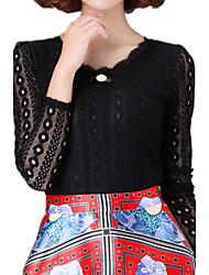 Spring Plus Size Women's Round Neck Long Sleeve Lace Splice Slim Bottoming T-Shirt Tops Blouse