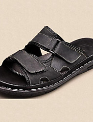 Men's Shoes Outdoor/Office & Career/Work & Duty / Athletic / Dress / Casual Nappa Leather Slippers Black/Brown