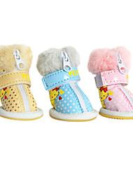 Dog Shoes & Boots Fashion Blue / Pink / Yellow Winter PU LeatherDog Shoes