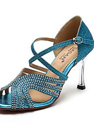 Zapatos de baile ( Azul / Oro ) - Latino / Salsa - No Personalizables - Tacón Stiletto