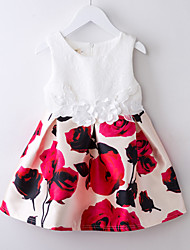 Girl's Floral Dress,Polyester Summer White