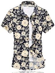 Masculino Camisa Casual / Escritório / Formal / Tamanhos Grandes Estampado Manga Curta Algodão Branco / Amarelo