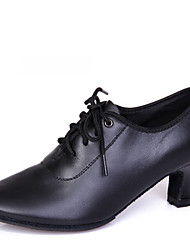 Latin Women's Dance Shoes Heels Breathable Leather Chunky Heel Black