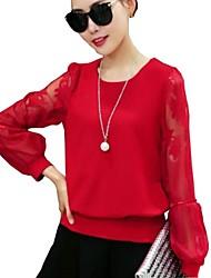 Damen Solide Einfach / Street Schick Lässig/Alltäglich T-shirt,Rundhalsausschnitt Frühling Langarm Rot / Schwarz / LilaBaumwolle /