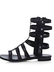 Women's Summer Open Toe / Fashion Boots Leatherette Dress / Casual Flat Heel Rivet / Zipper Black / White