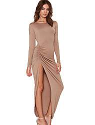 Women's Sexy Solid Sheath Dress , Round Neck Maxi Polyester