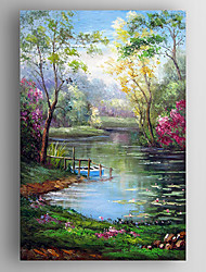 Oil Painting Impression Landscape and Lake Hand Painted Canvas with Stretched Framed Ready to Hang