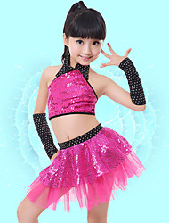 Jazz Outfits Children's Performance Spandex Sequins 4 Pieces Fuchsia / Silver