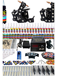 Solong Tattoo Complete Tattoo Kit 2 Pro Machine Guns 54 Inks Power Supply Foot Pedal Needles Grips Tips TK256