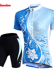 TASDAN® Cycling Jersey with Shorts Women's Short Sleeve Breathable / Quick Dry / Sweat-wicking / 3D Pad / Reflective Strips / Back Pocket