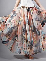 Women's Bohemia Casual Chiffon Floral  Beach Long Skirt