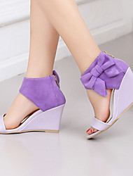 Women's Shoes Heel Wedges / Heels / Peep Toe Sandals / Heels Outdoor / Dress / Casual Pink / Purple / Almond