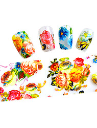 10pcs 100cmx4cm  Colorful Flower Glitter  Nail Foil Sticker  DIY Beauty  Nail Decorations  Sticker STZXK01-49