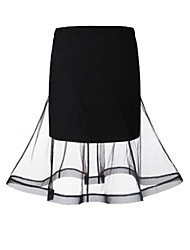 Women's Solid Black Skirts , Casual / Day / Street chic Knee-length