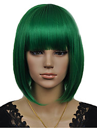 nouveau style cosplay arrivée bobo vert perruque courte syntheic droite