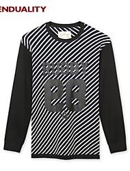 Trenduality® Hombre Escote Redondo Manga Larga Camiseta Azul Oscuro - 47154