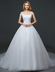 Trumpet / Mermaid Wedding Dress Court Train Bateau Lace / Tulle with Lace