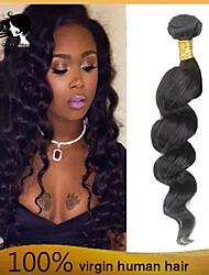 "1pcs / lot precio barato 8 ""-26"" virginales brasileñas onda floja tramas de cabello natural 1b # negro mechones de cabello humano"