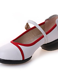 Women's Dance Shoes Sneakers Breathable Leather Low Heel Black/Red/White